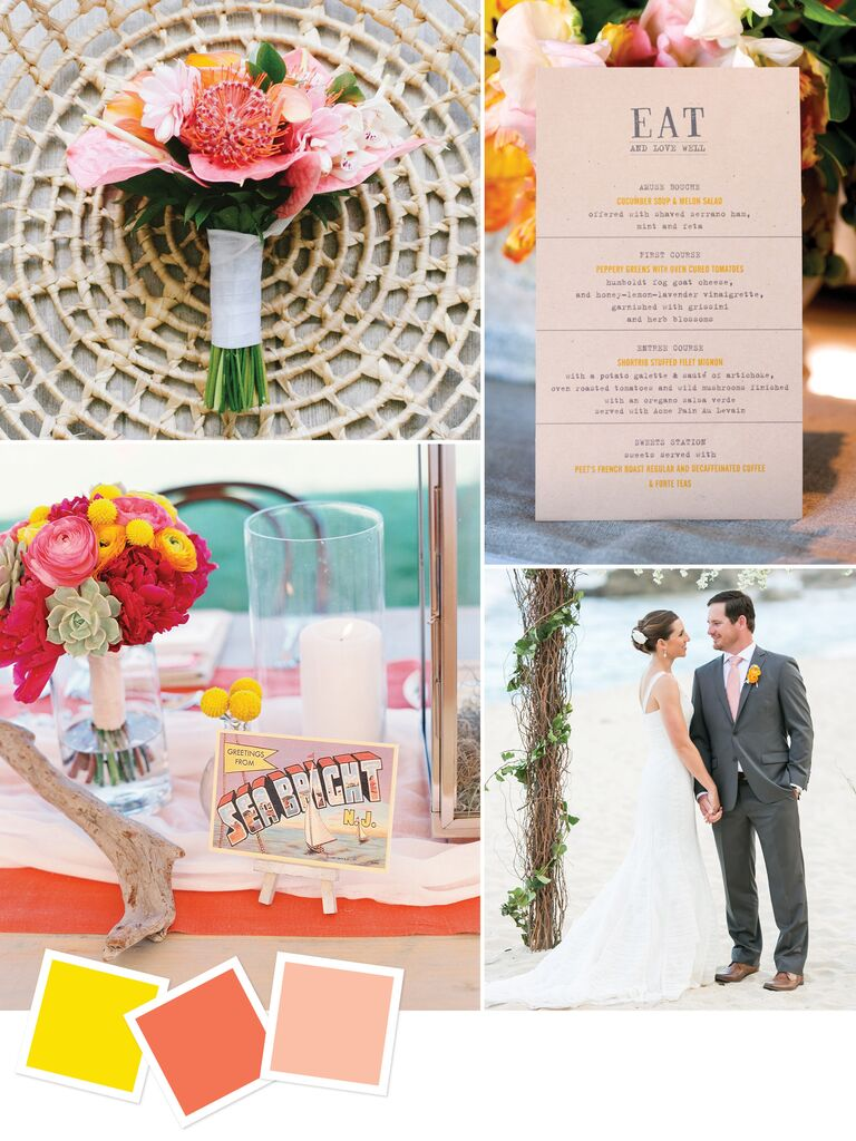 Color palette for a vibrant summer beach wedding