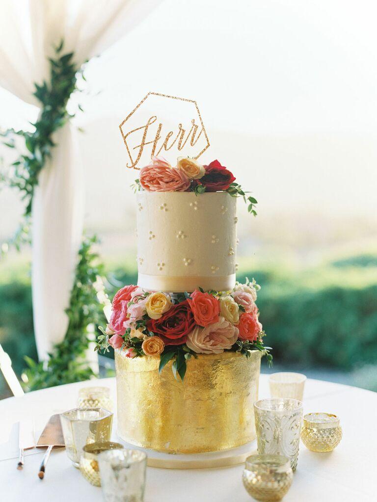 Antique gold retro last name wedding cake topper