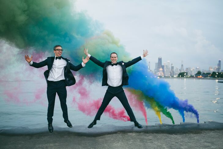 Grooms with Colorful Smoke Bombs at Wedding in Chicago, Illinois