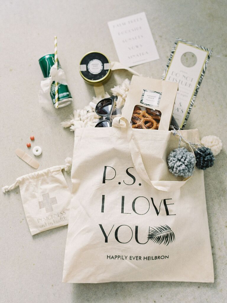 P.S. I Love You canvas tote wedding welcome bag with lots of goodies