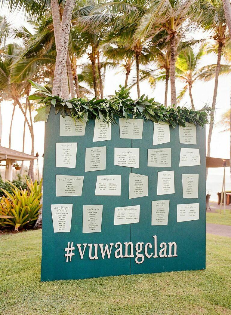 Tropical seating chart board at beach wedding