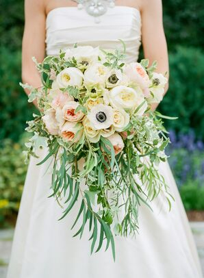Romantic Cascading Ivory, Blush Bridal Bouquet with Greens