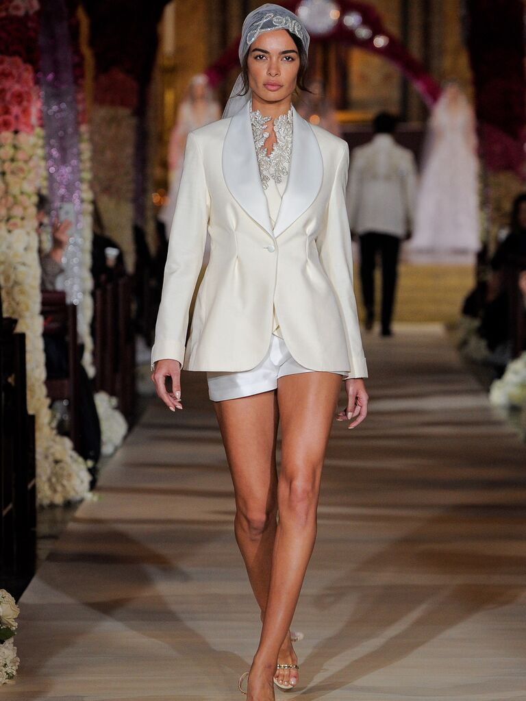 Reem Acra Spring 2020 Bridal Collection bridal look with suit jacket and shorts