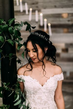 Modern Bride with Loose Updo, Tiara, Necklace and Off-the-Shoulder Wedding Dress