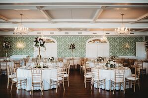 Classic Country Club Reception with Gold Chiavari Chairs
