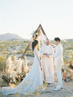 The Bride and Groom Shared Vows in an Intimate Desert Elopement Ceremony