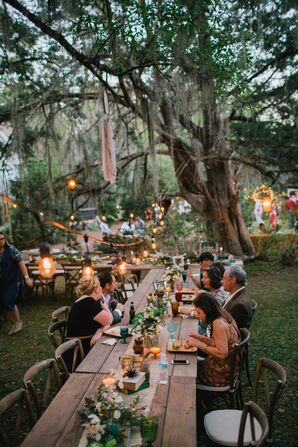Outdoor Casual Reception in the Park with Boho Details