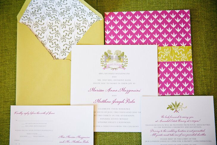 Events of Distinction developed a custom coat of arms using the ruins of Annadel Winery surrounded by classic Italian herbs and surrounded by a cheerful pink pattern and sheathed in a golden envelope.