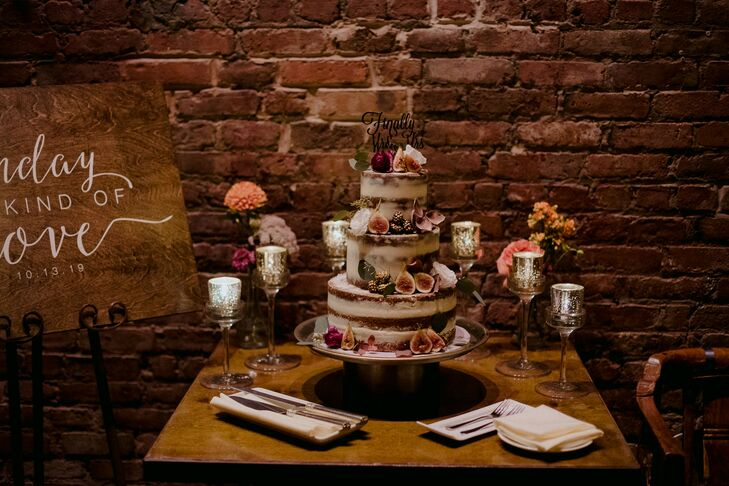 Naked Cake with Floral Accents at Brooklyn, New York, Wedding