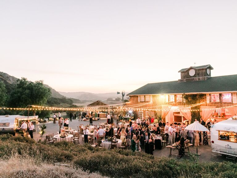 Outdoor backyard wedding with mountain views