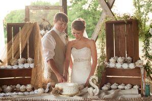 Single-Tier White Buttercream Rustic Wedding Cake