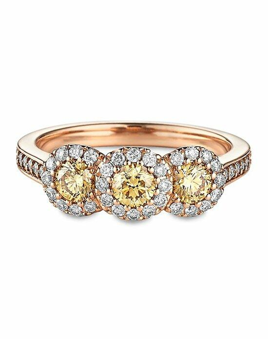 Ritani Three-Stone Halo Fancy Yellow Diamond Engagement Ring in 18kt Rose Gold (0.95 CTW) Engagement Ring photo