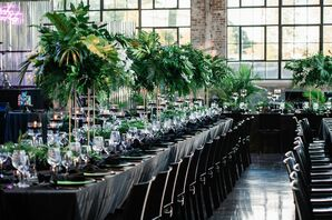 Modern Black Dining Tables with Tall, Leafy Centerpieces
