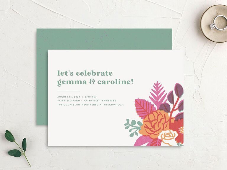 Colorful floral arrangement in corner and green text on white background