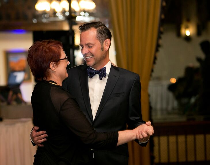 """Matt, dressed in his formal wedding tuxedo, danced with his mother at the elegant reception at Alex Johnson Hotel. Following the reception, the happy couple rented a bus and took their eighty-eight guests on a tour of Mt. Rushmore and Crazy Horse. """"We had a fun wedding because we kept it small enough that everyone invited felt special,"""" they explain."""