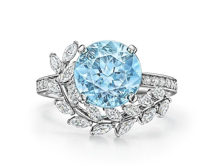 tiffany and co round aquamarine silver engagement ring with vine and diamonds