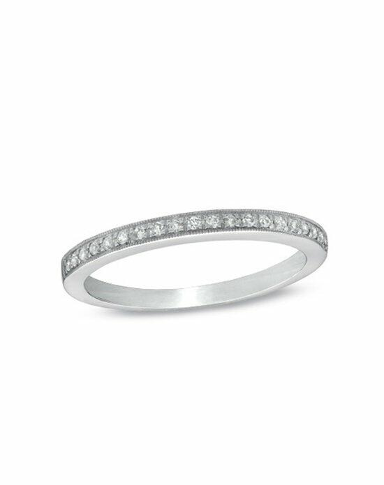 Zales Ladies' 1/10 CT. T.W. Diamond Milgrain Wedding Band in 14K White Gold  18296509 Wedding Ring photo