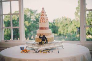 Art Nouveau-Inspired White Wedding Cake