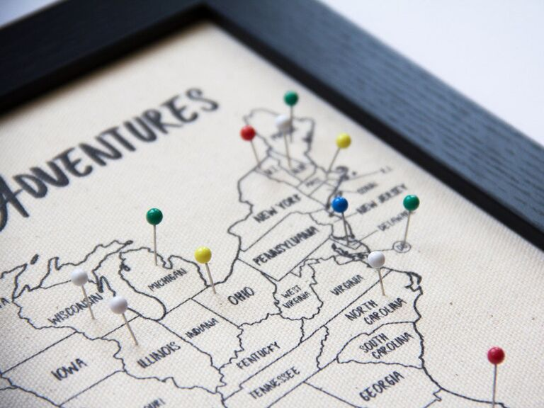 Push pin map of the US gift for girlfriend/boyfriend's parents