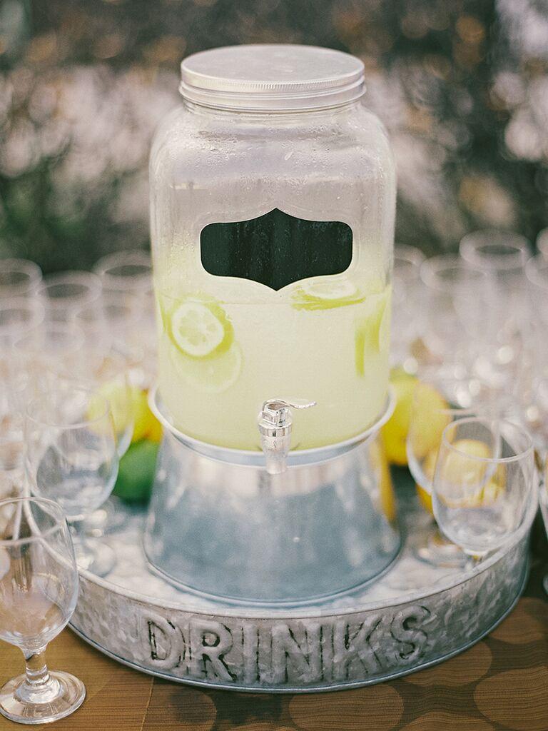 DIY southern wedding food idea with self-serve lemonade