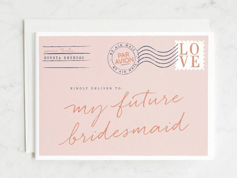postcard bridesmaid proposal