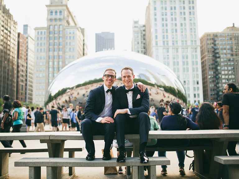 chicago bean wedding portrait