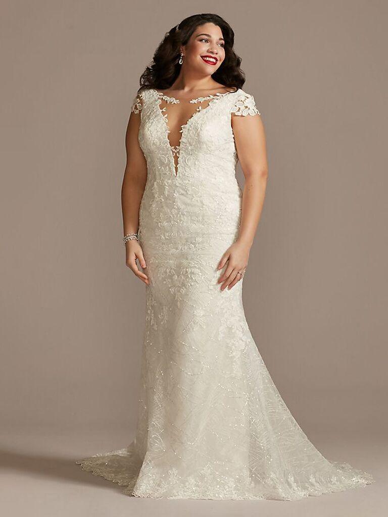 David 'váy cưới sheath trắng cô dâu với ren tay áo sâu v cạp thấp sau ren ngực và tạo thành váy ren hoa phù hợp váy cưới đơn giản đẹp