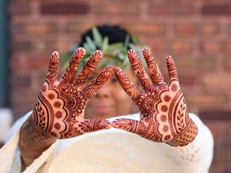 Intricate palm henna designs
