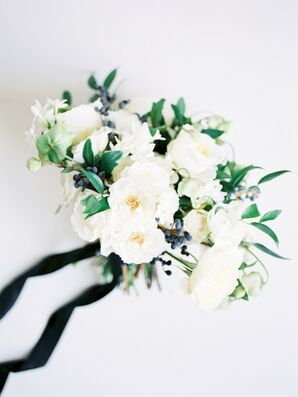 Bridal Bouquet with White Roses and Pops of Greenery