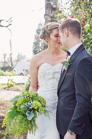 Groom and Bride with Updo and All-Green Bouquet in Hillsboro, Oregon