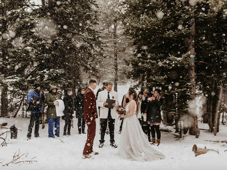 friends themed wedding winter snowy wedding