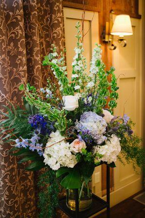 Purple, White and Green Ceremony Arrangement