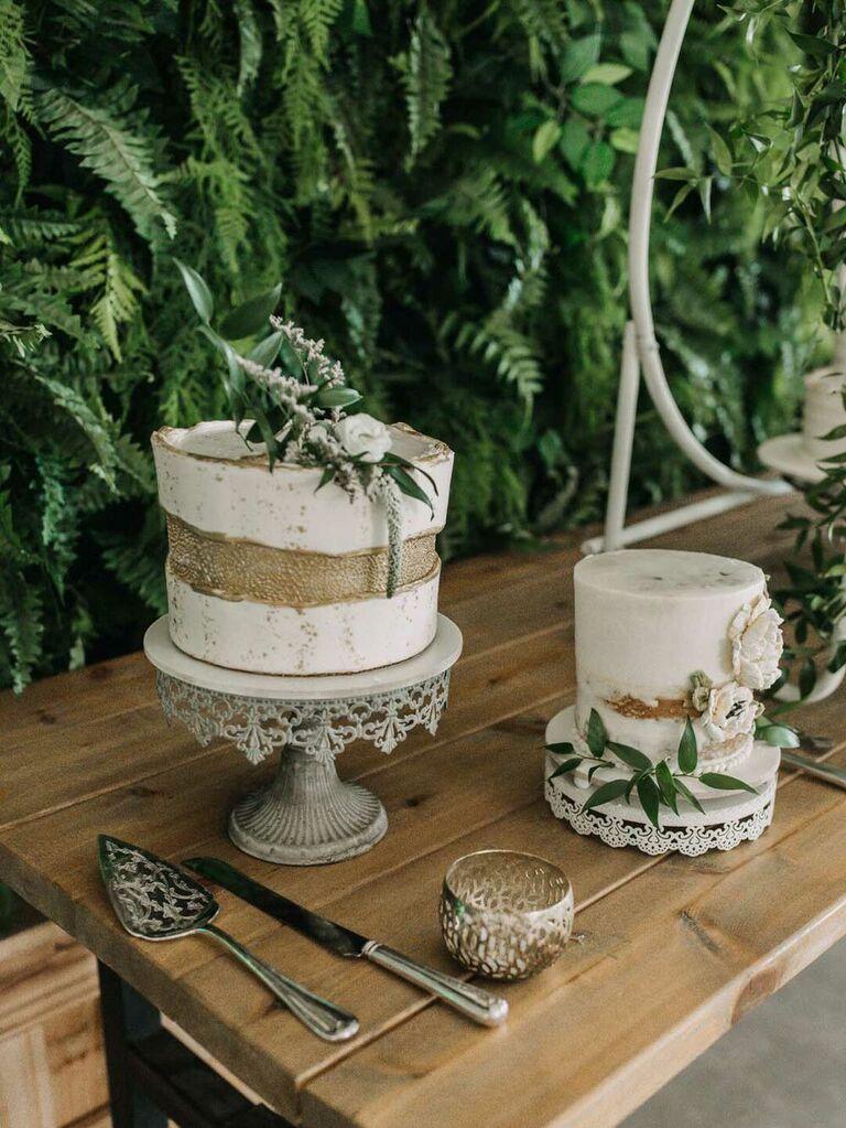 Semi-naked wedding cakewith greenery
