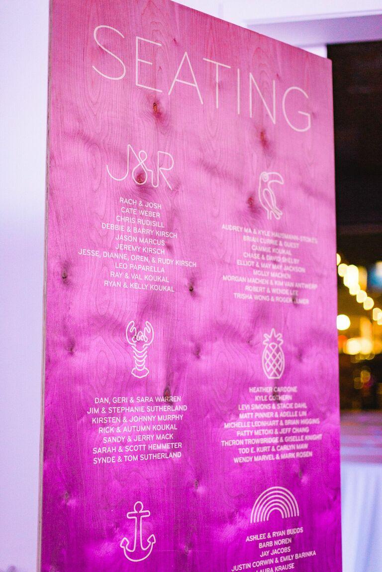 Hot pink seating chart