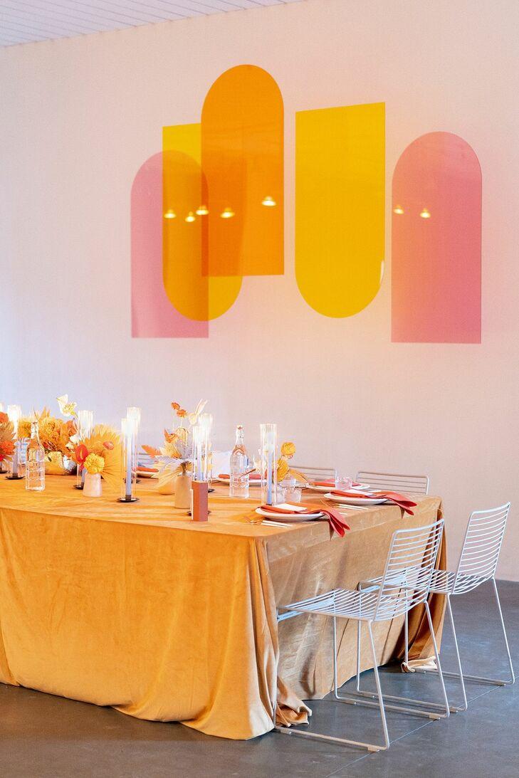 Orange Velvet Linens at Wedding Reception in Palm Springs