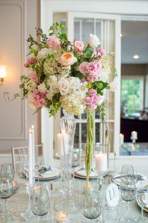 Tall Garden Rose and Hydrangea Centerpieces