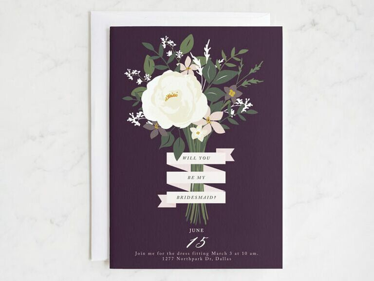 purple bridesmaid proposal card with bouquet