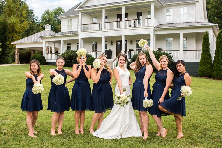 Choosing a timeless navy hue and classic A-line silhouette guaranteed that Sarah Beth's bridesmaids would be able to wear their dresses again.