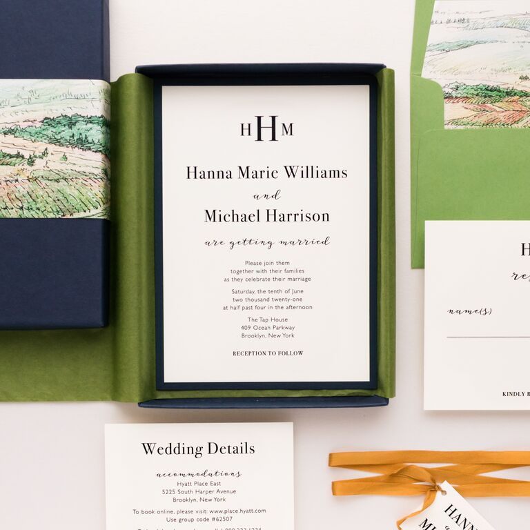 Navy box and green liner with event details in minimalist navy type
