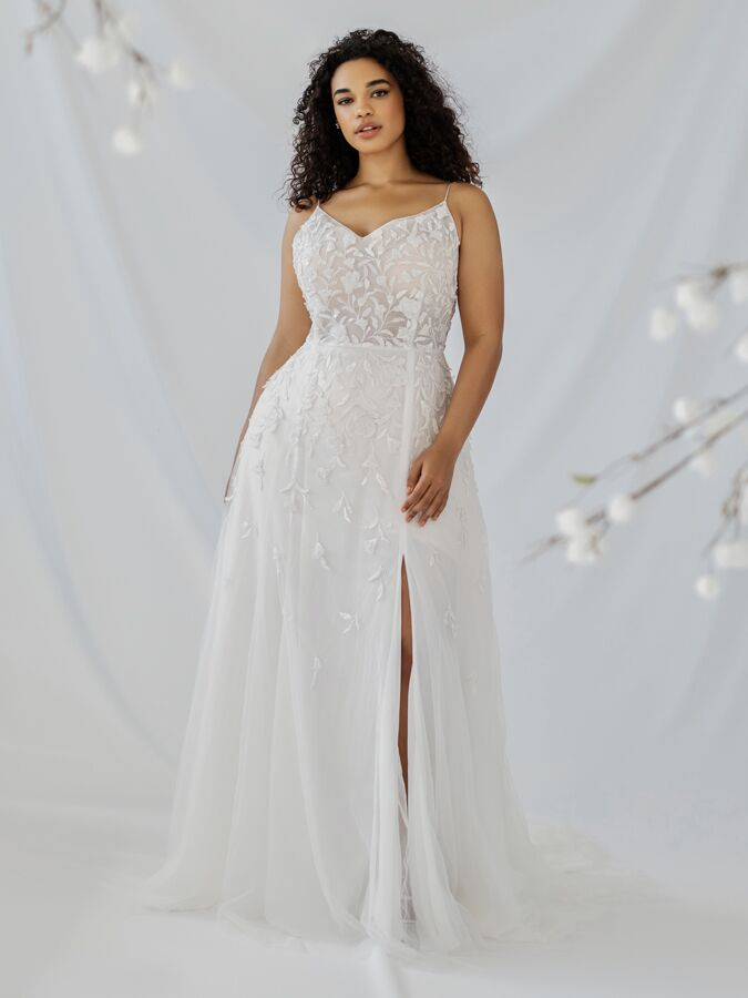 Alexandra Grecco A-line embroidered tulle wedding dress