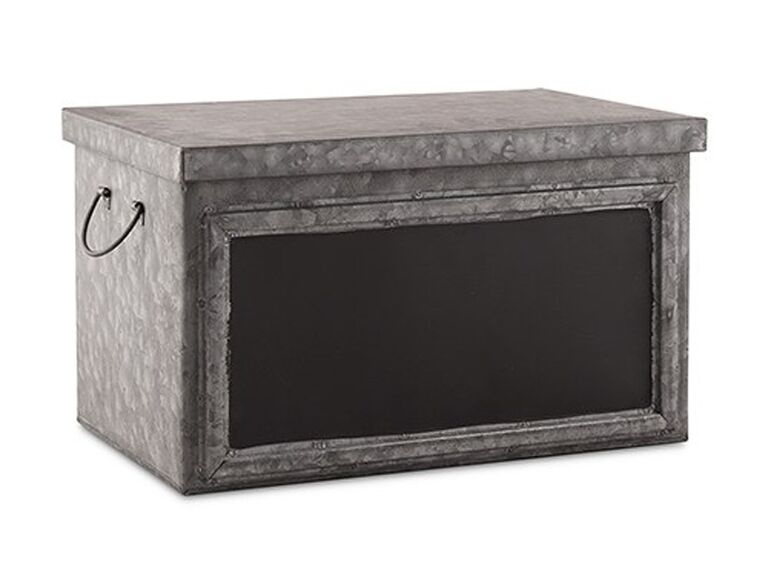 Metal chalkboard wedding bathroom basket