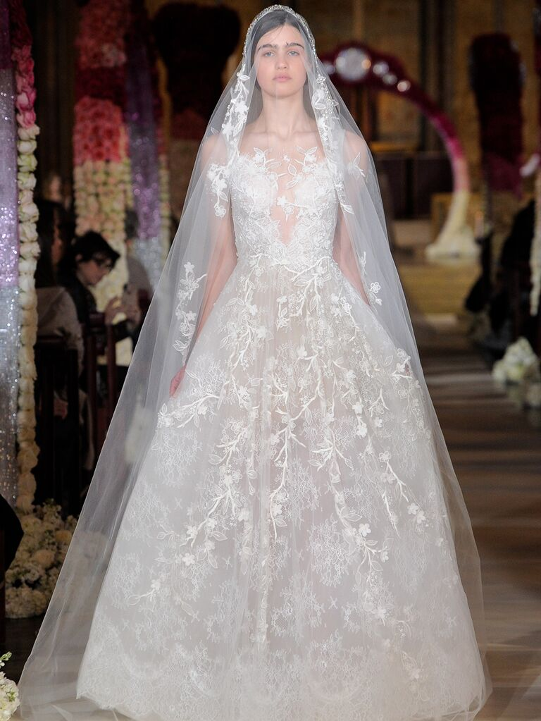 Reem Acra Spring 2020 Bridal Collection lace A-line wedding dress