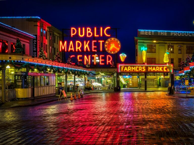 Pike Place Market at night in Seattle