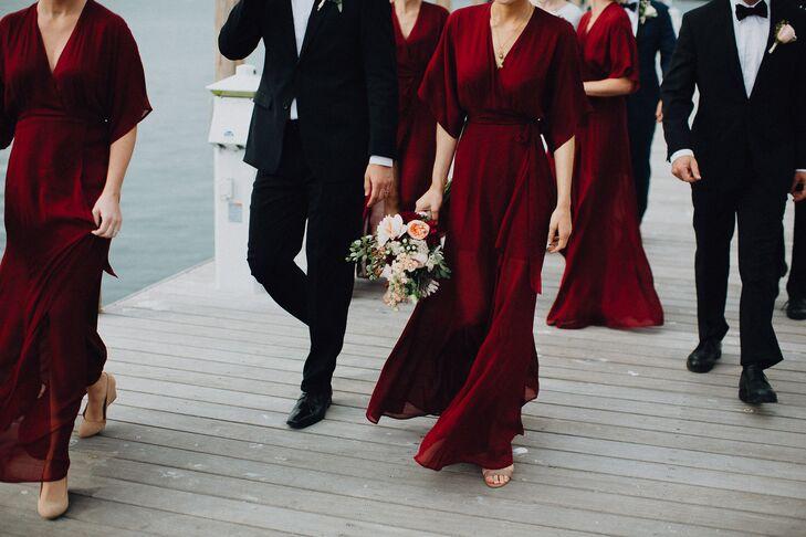 Ethereal Burgundy Wrap Dresses
