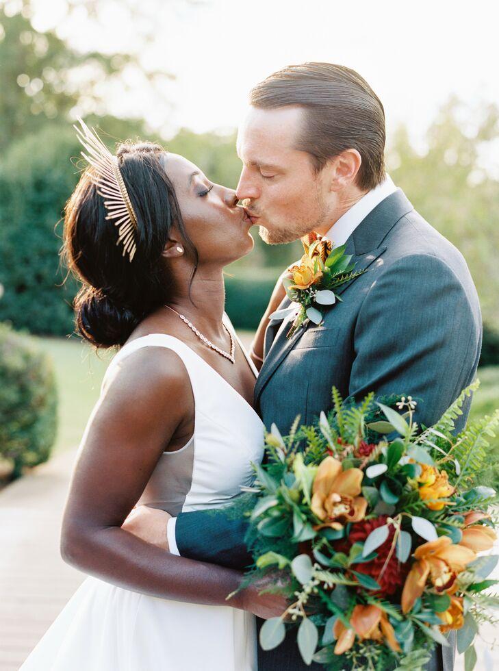Couple Kissing at Ballantyne Country Club Wedding in Charlotte, North Carolina