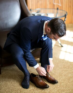 Groom Getting Ready in Navy Hugo Boss Suit and Brown Shoes