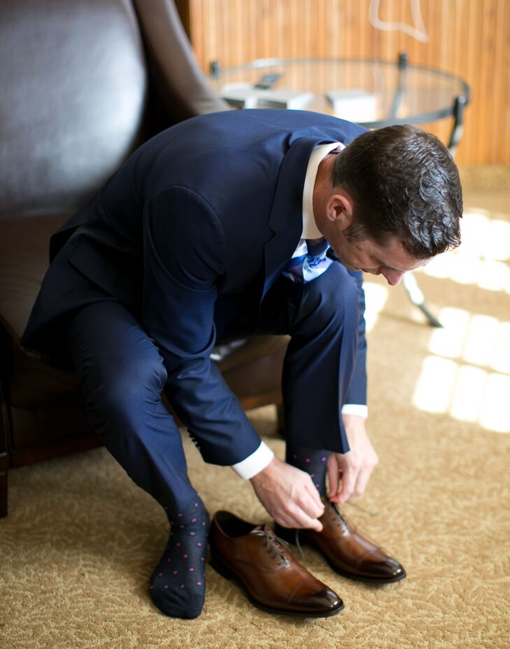 While Matt wore a Ted Baker suit and Hugo Boss bow tie, Paul wore the opposite--a navy Hugo Boss suit with a plaid blue and purple Ted Baker tie. Paul also wore brown leather shoes from To Boot New York by Adam Derric.