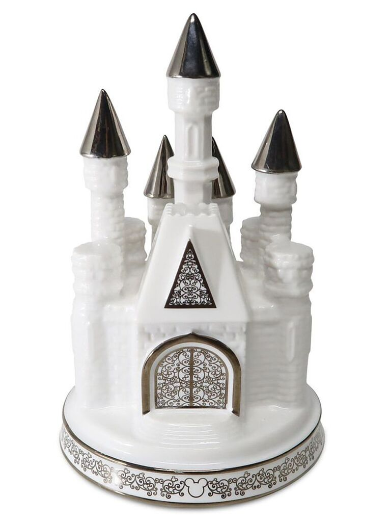 White and silver ceramic Cinderella's castle figurine