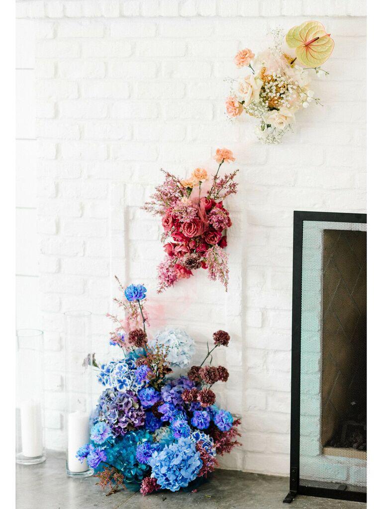 Blue, pink and ivory wedding floral arrangement