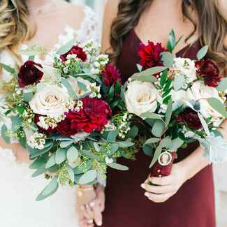 Bride and maid of honor at wedding